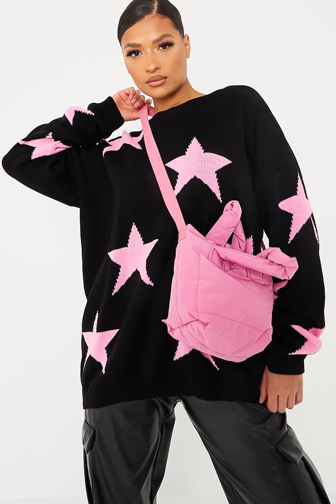 Black Crew Neck Jumper With Star Print view 2