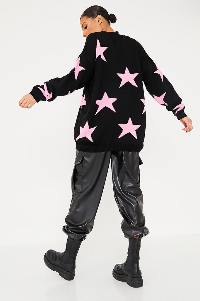 Black Crew Neck Jumper With Star Print view 4