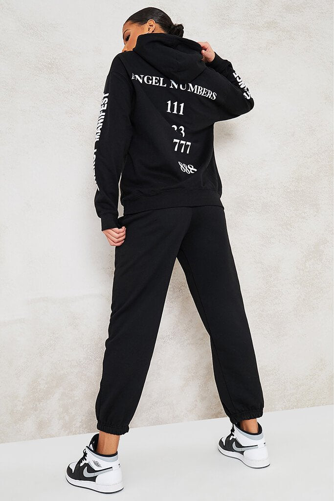 Black Angel Numbers Oversized Hoodie view 4