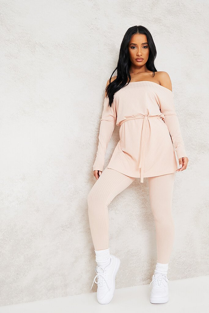 Nude Ribbed Belted Off Shoulder Lounge Set