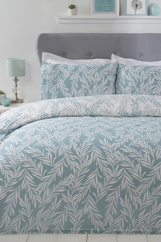 Sage Single Trailing Leaf Duvet Set