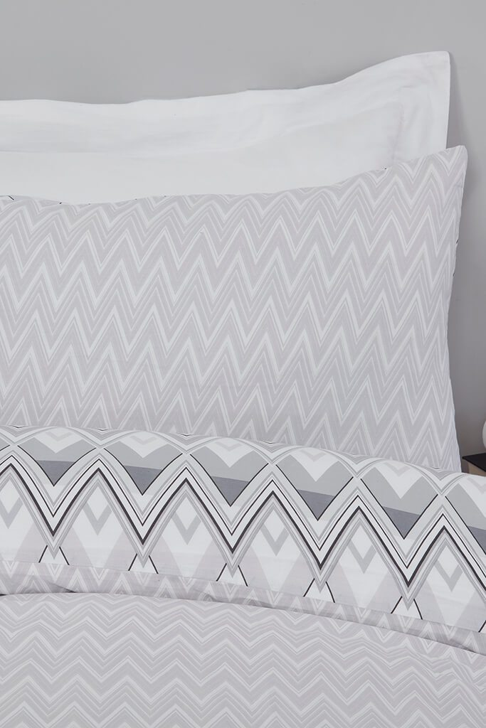 Grey King Zig Zag Geo Monochrome Duvet Set view 3