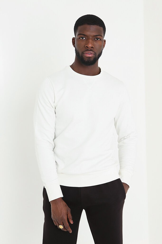 Cream Men's Basic Sweatshirt view main view