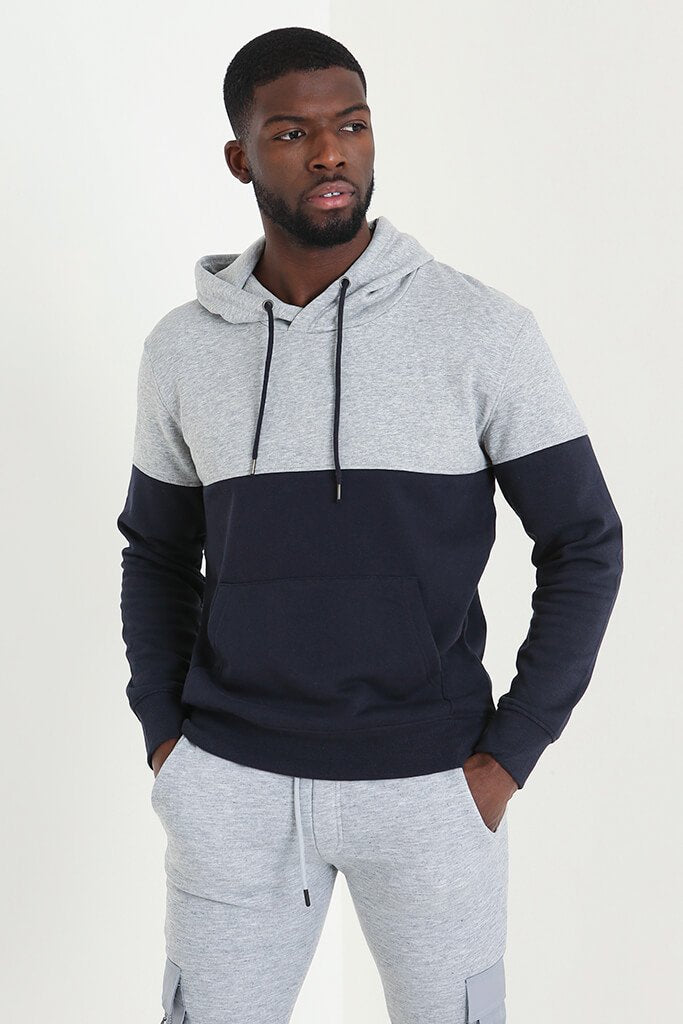 Navy Men's Colour Block Hoodie