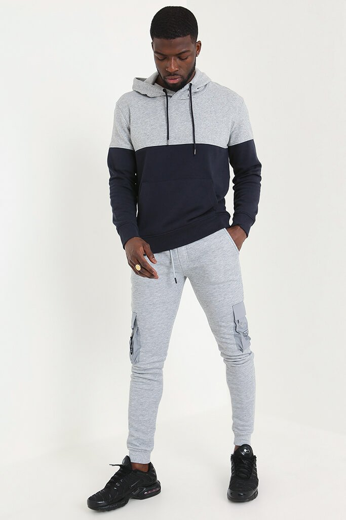 Navy Men's Colour Block Hoodie view 2