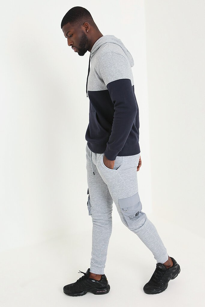 Navy Men's Colour Block Hoodie view 3
