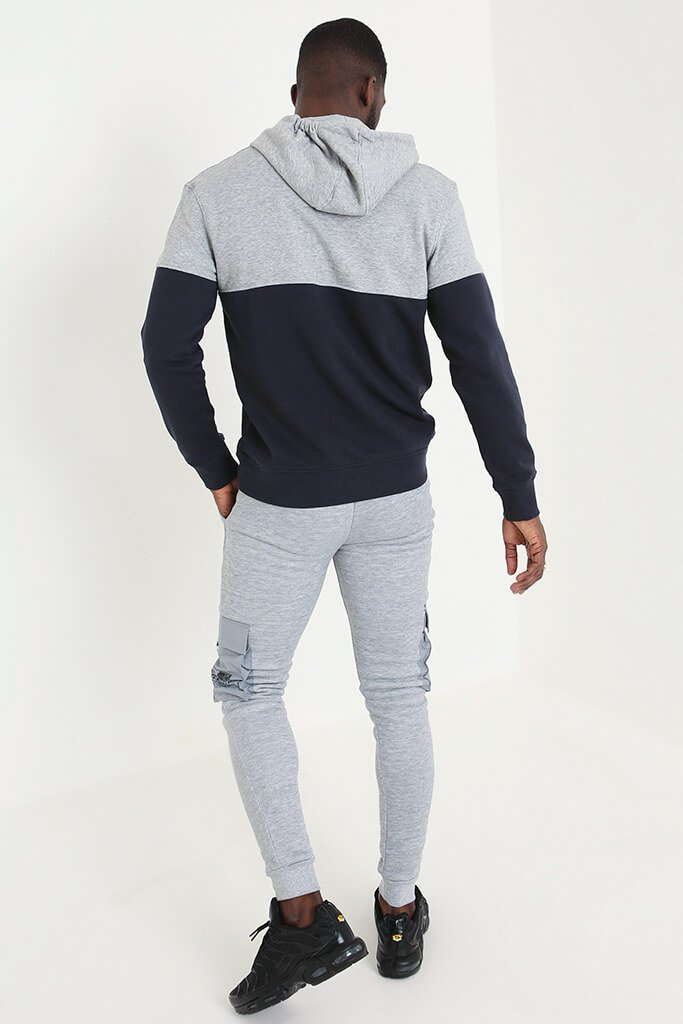 Navy Men's Colour Block Hoodie view 4