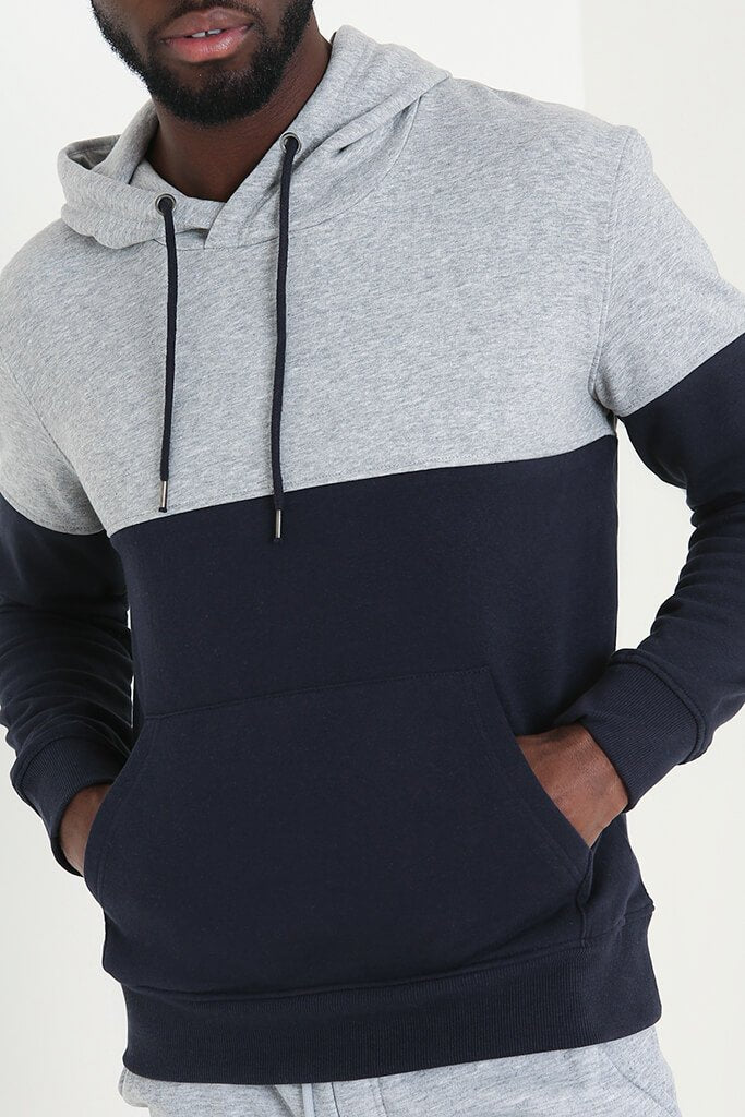 Navy Men's Colour Block Hoodie view 5