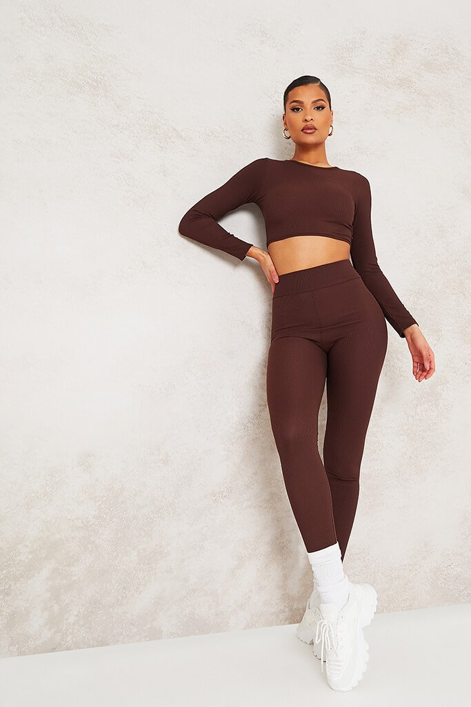 Chocolate Long Sleeve Ribbed Crop Top view 2