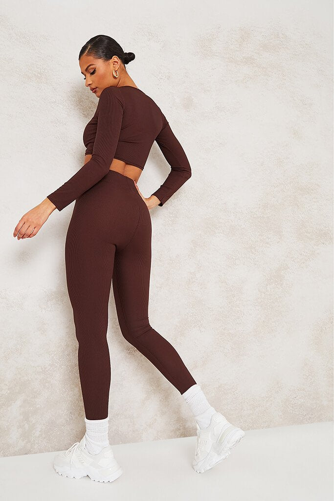 Chocolate Long Sleeve Ribbed Crop Top view 4