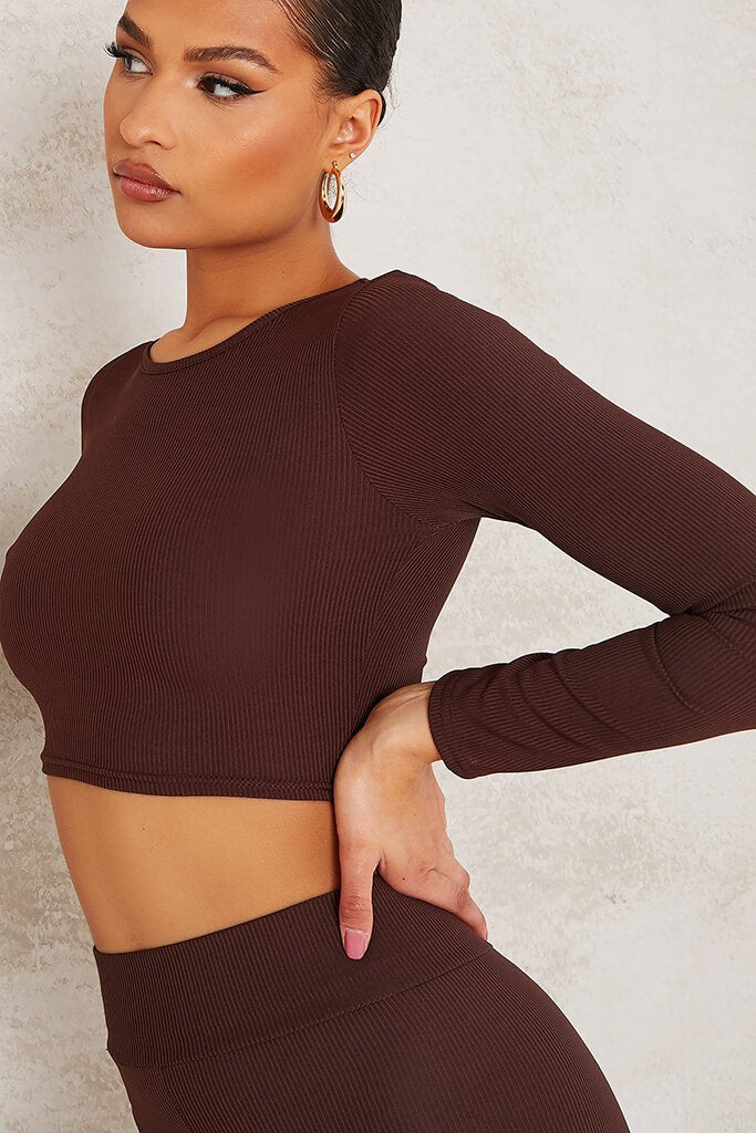 Chocolate Long Sleeve Ribbed Crop Top view 5