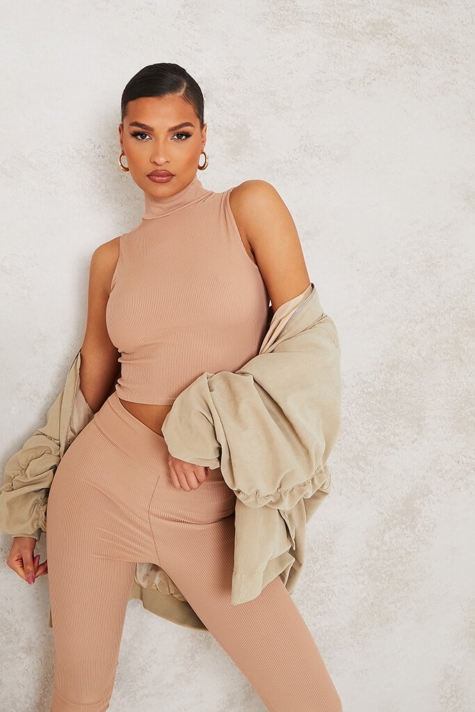Taupe High Neck Ribbed Crop Top