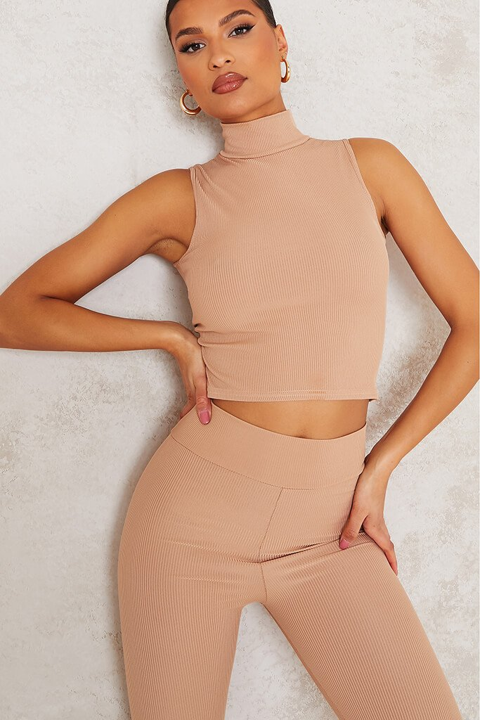 Taupe High Neck Ribbed Crop Top view 5
