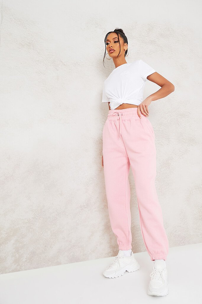 Baby Pink Super High Waist Joggers view main view