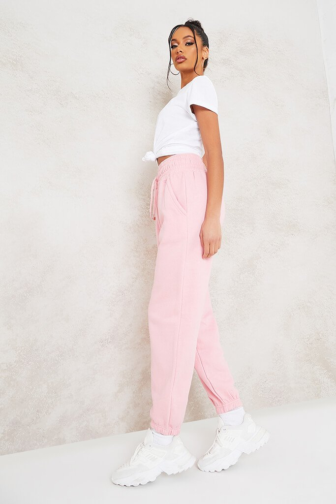 Baby Pink Super High Waist Joggers view 3
