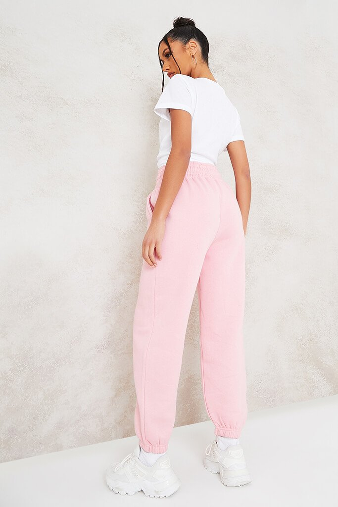 Baby Pink Super High Waist Joggers view 4
