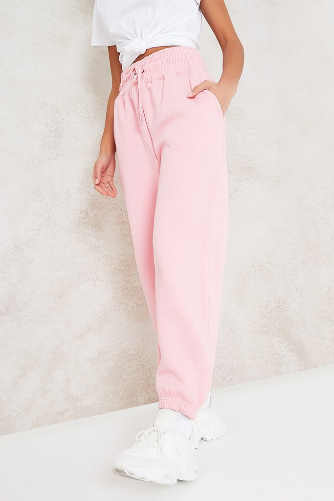 Baby Pink Super High Waist Joggers view 2