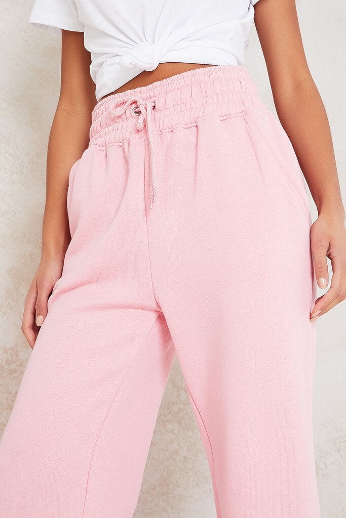 Baby Pink Super High Waist Joggers view 5