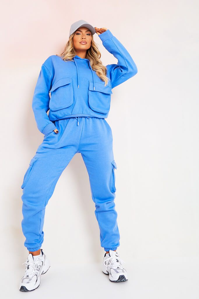 Blue Oversized Utility Pocket Hoodie And Jogger Set