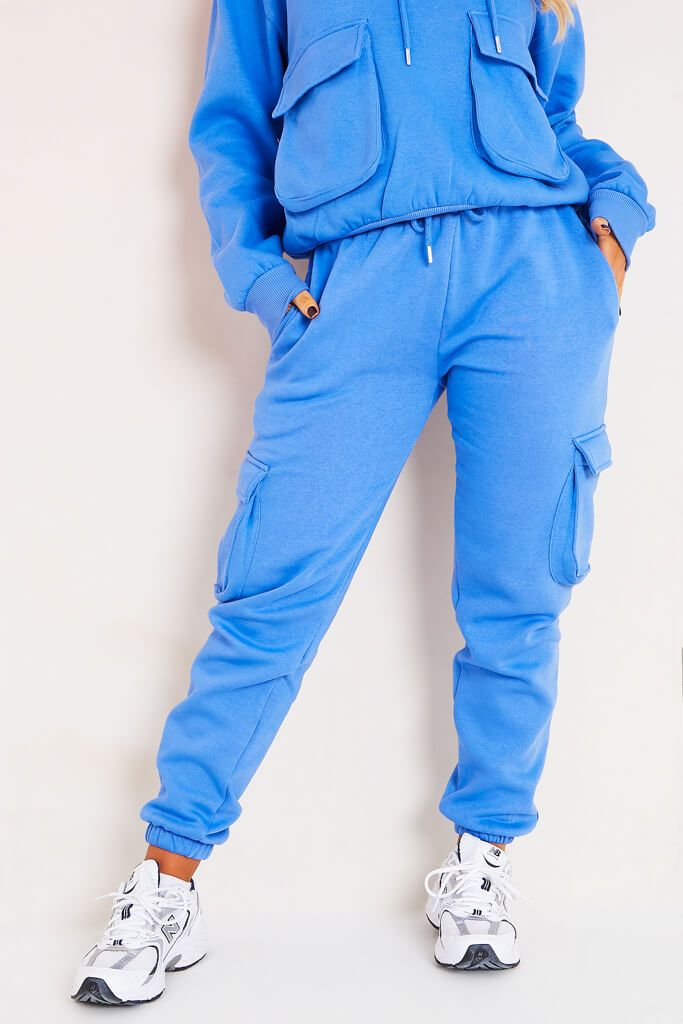 Blue Oversized Utility Pocket Hoodie And Jogger Set view 2