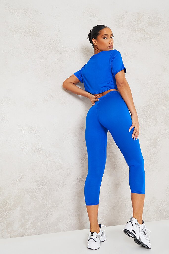 Cobalt Blue Basic Boxy Cropped T-Shirt view 4