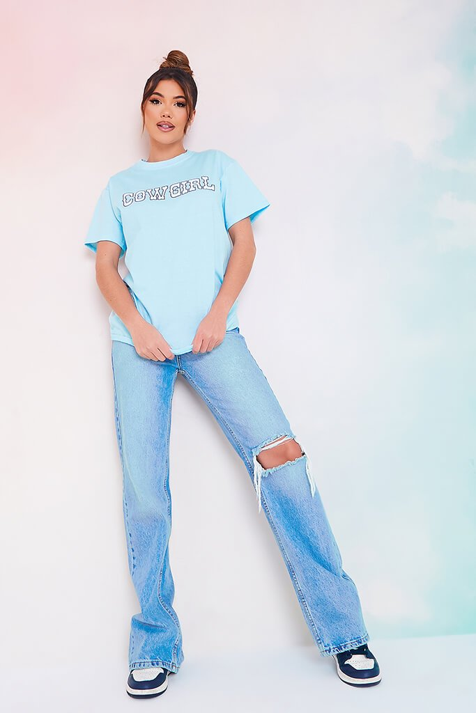 Baby Blue Cowgirl Slogan Oversized T Shirt view 2