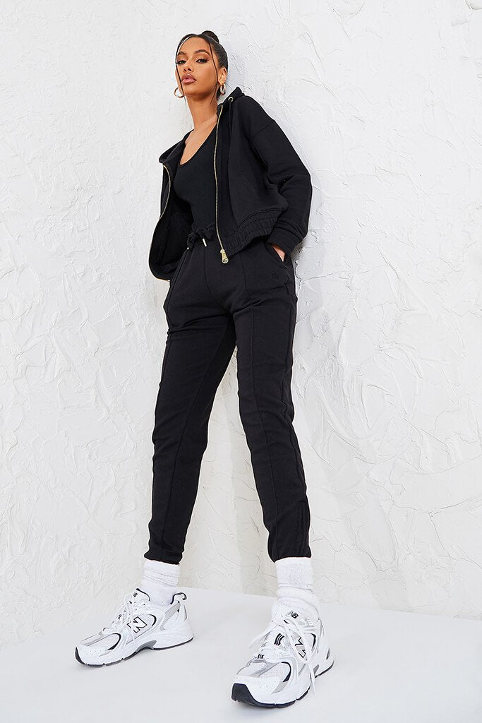 Black Sian Marie Joggers With Front Seam Detail