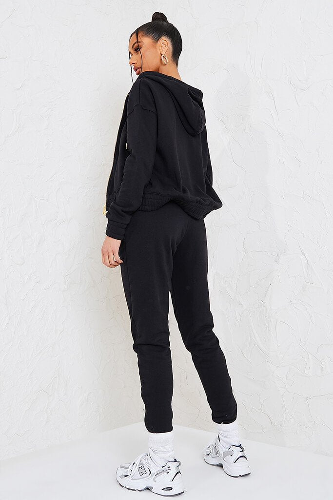 Black Sian Marie Joggers With Front Seam Detail view 4