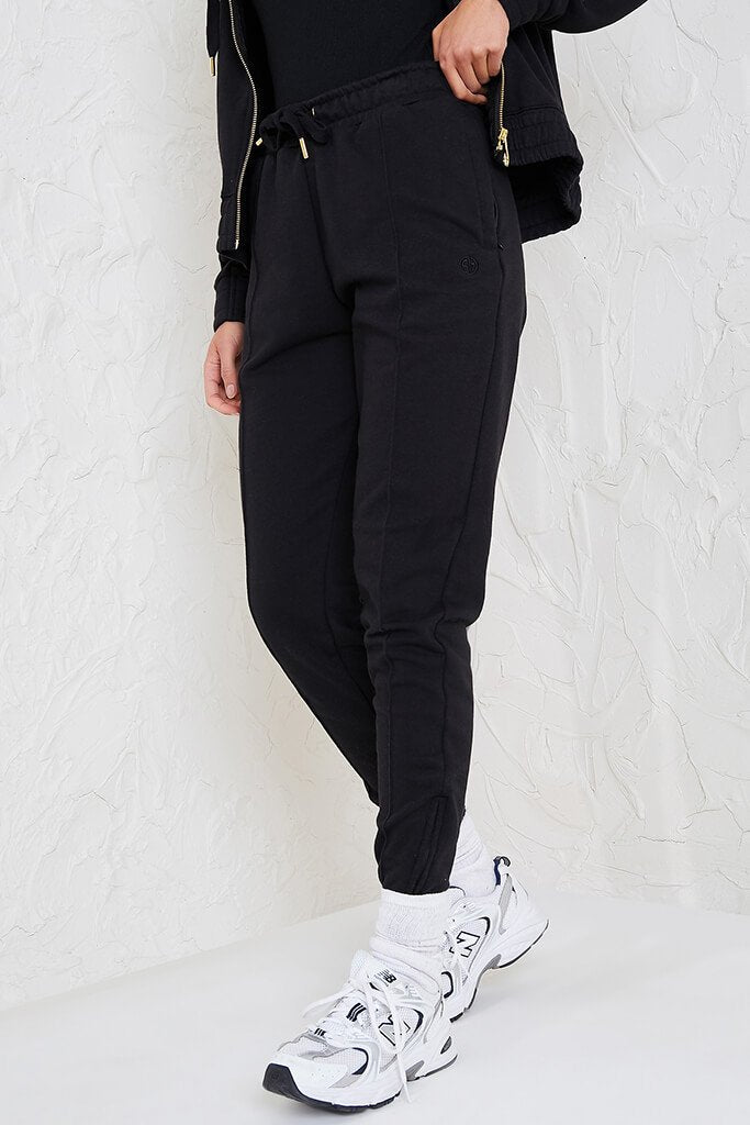 Black Sian Marie Joggers With Front Seam Detail view 2