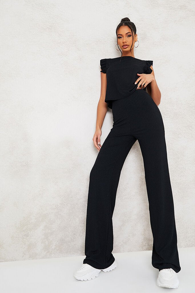 Black Frill Detail Sleeveless Top And Trouser Set