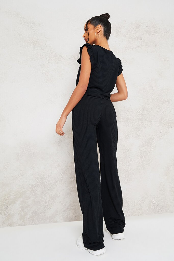Black Frill Detail Sleeveless Top And Trouser Set view 3