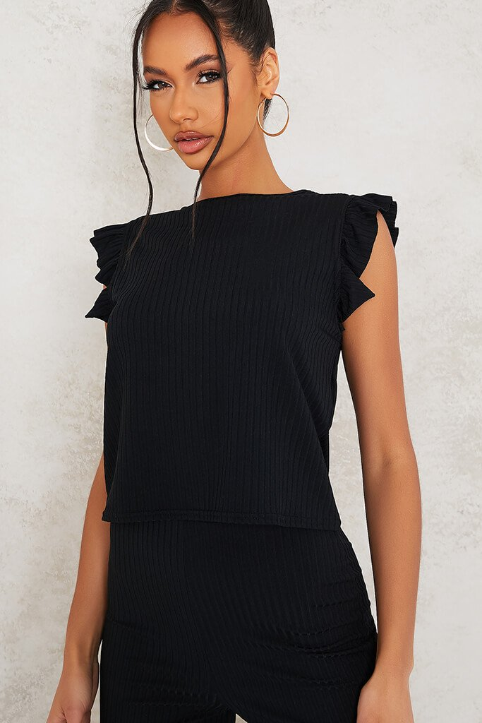 Black Frill Detail Sleeveless Top And Trouser Set view 5