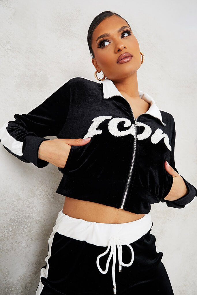Black Zip Up Icon Velour Jacket view main view