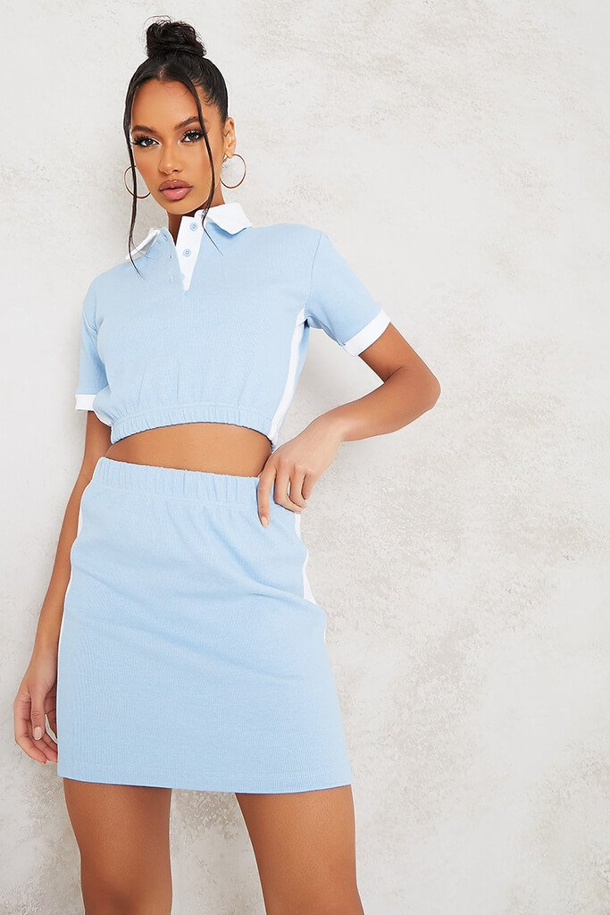 Baby Blue Fine Ribbed Contrast Mini Skirt