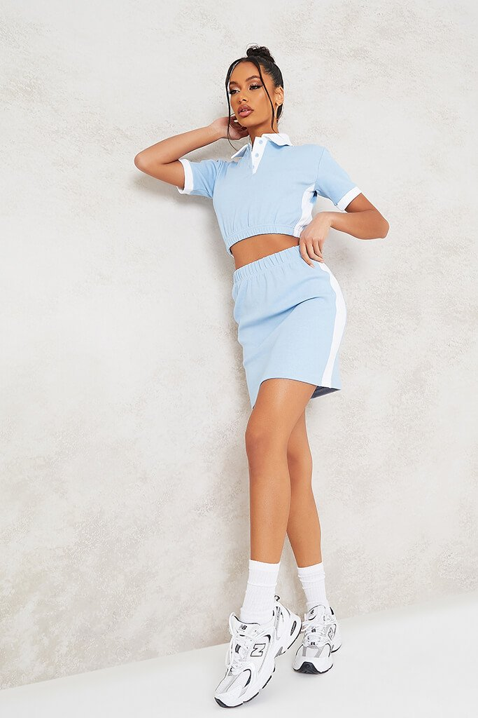 Baby Blue Fine Ribbed Contrast Mini Skirt view 2