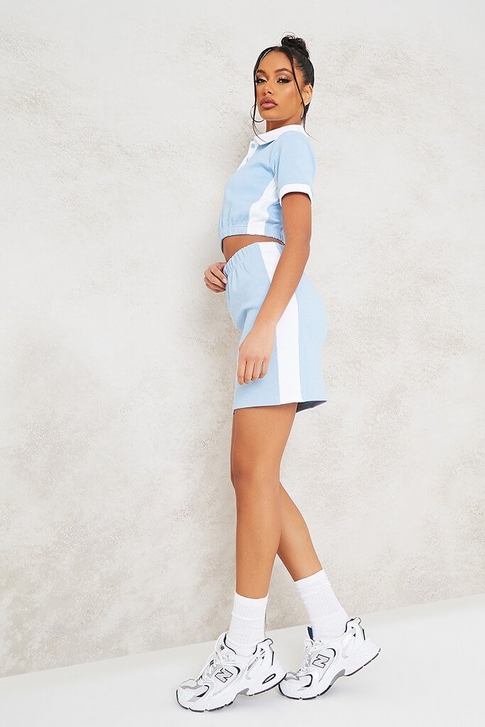 Baby Blue Fine Ribbed Contrast Mini Skirt view 3