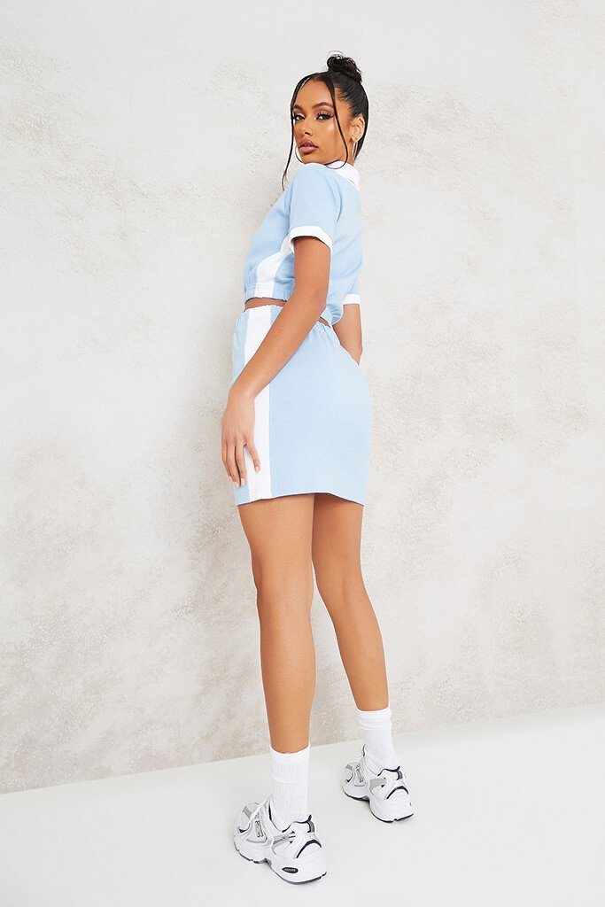 Baby Blue Fine Ribbed Contrast Mini Skirt view 4