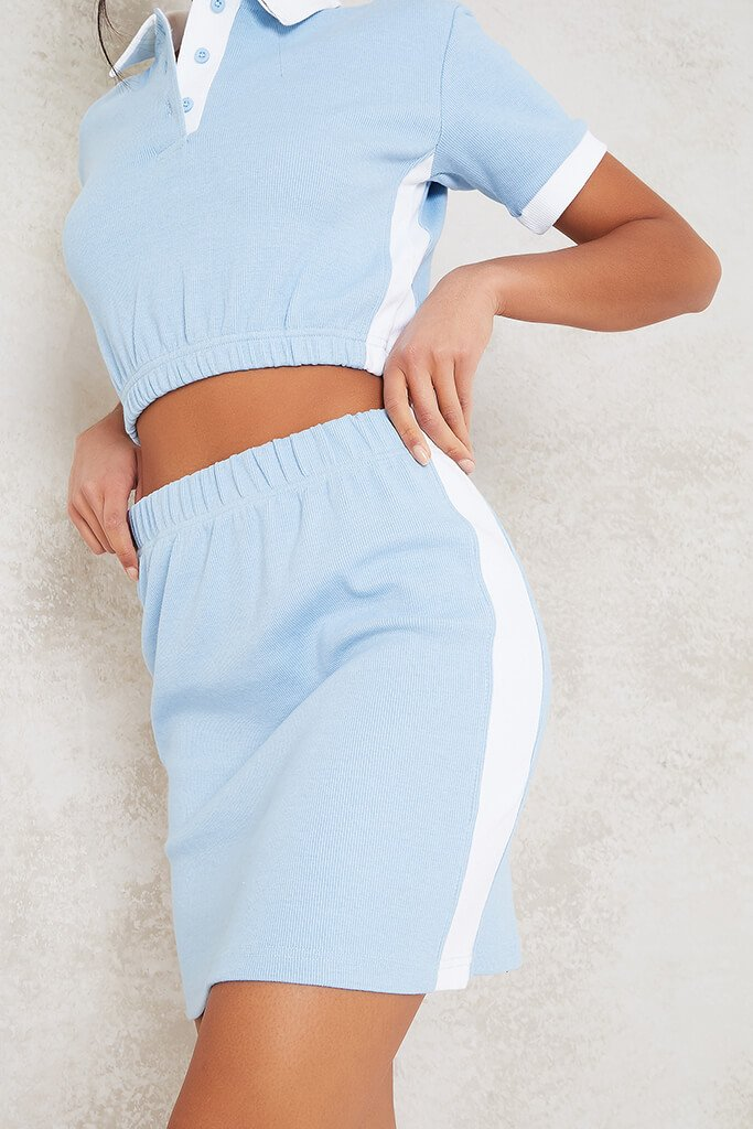Baby Blue Fine Ribbed Contrast Mini Skirt view 5