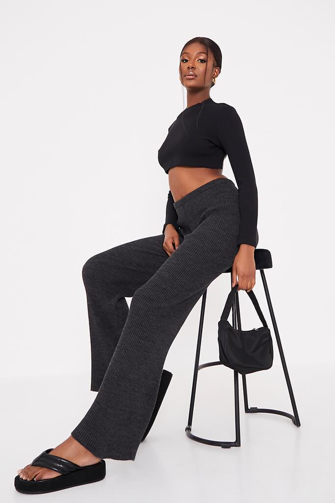 Charcoal Ribbed Knitted Flare Leggings