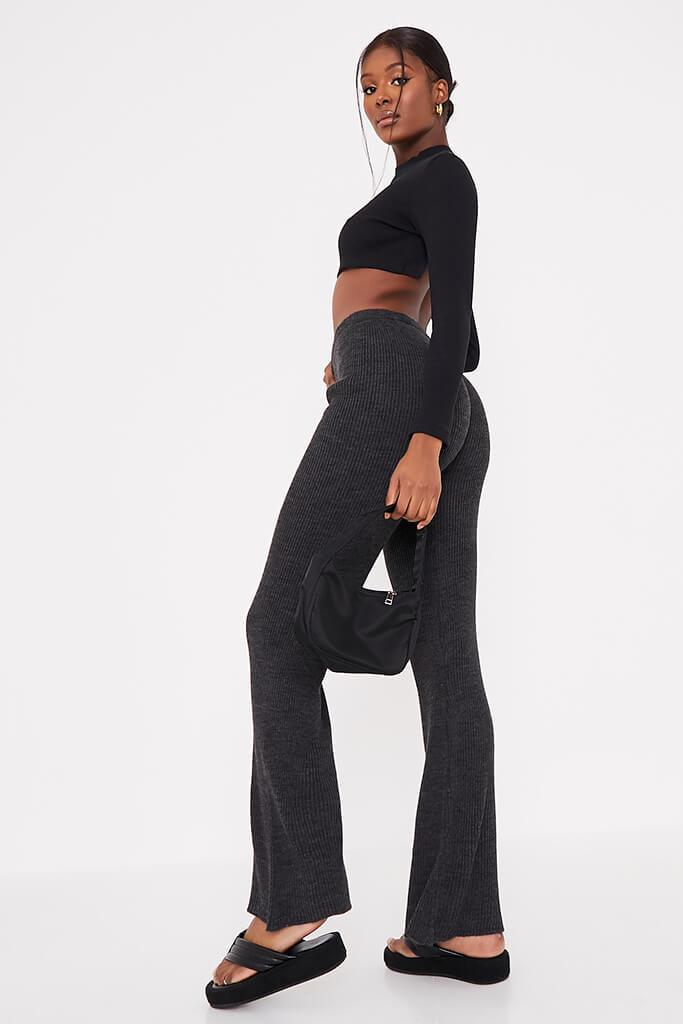 Charcoal Ribbed Knitted Flare Leggings view 4