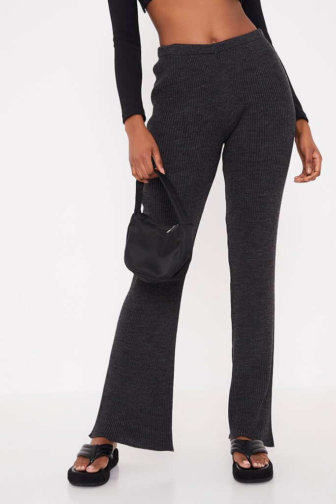 Charcoal Ribbed Knitted Flare Leggings view 2