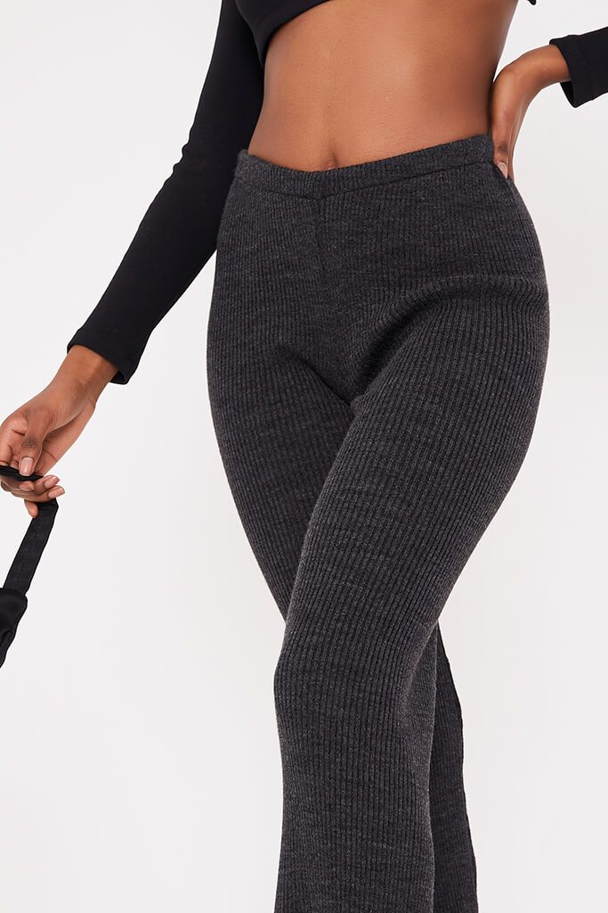 Charcoal Ribbed Knitted Flare Leggings view 5