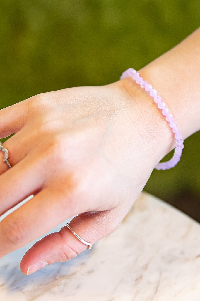 Pink Rose Quartz Crystal 4mm Bracelet view 2