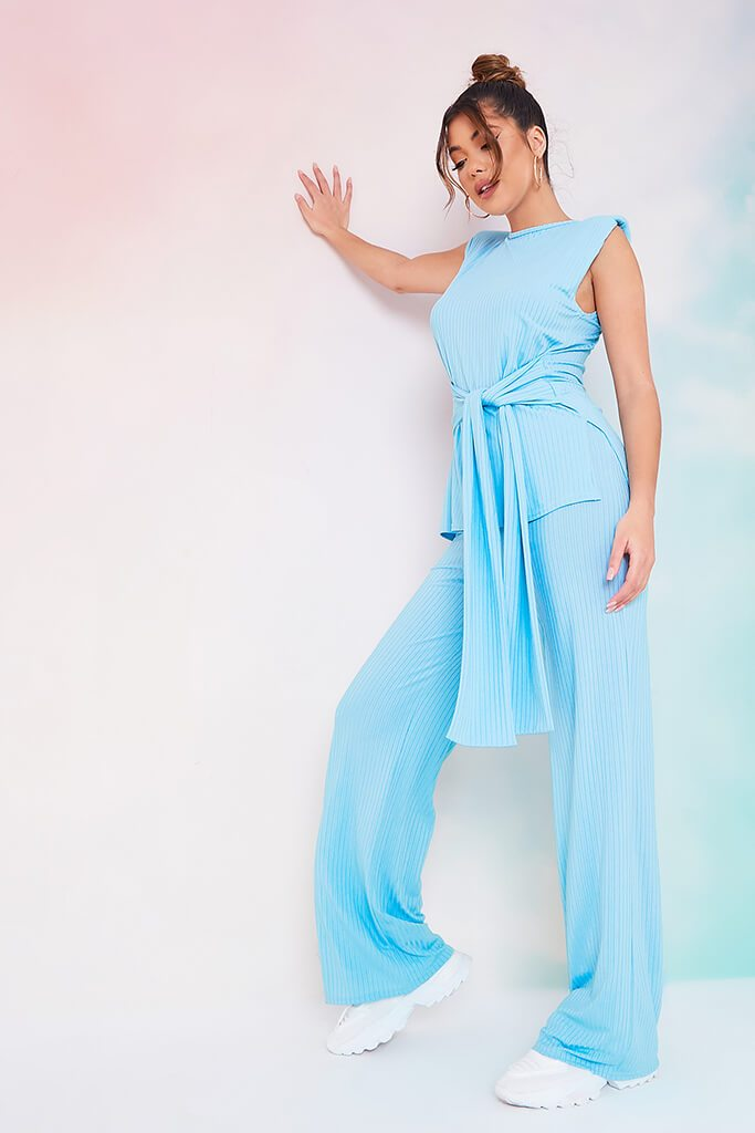 Dusty Blue Rib Belted Tunic With Wide Leg Trousers view 2