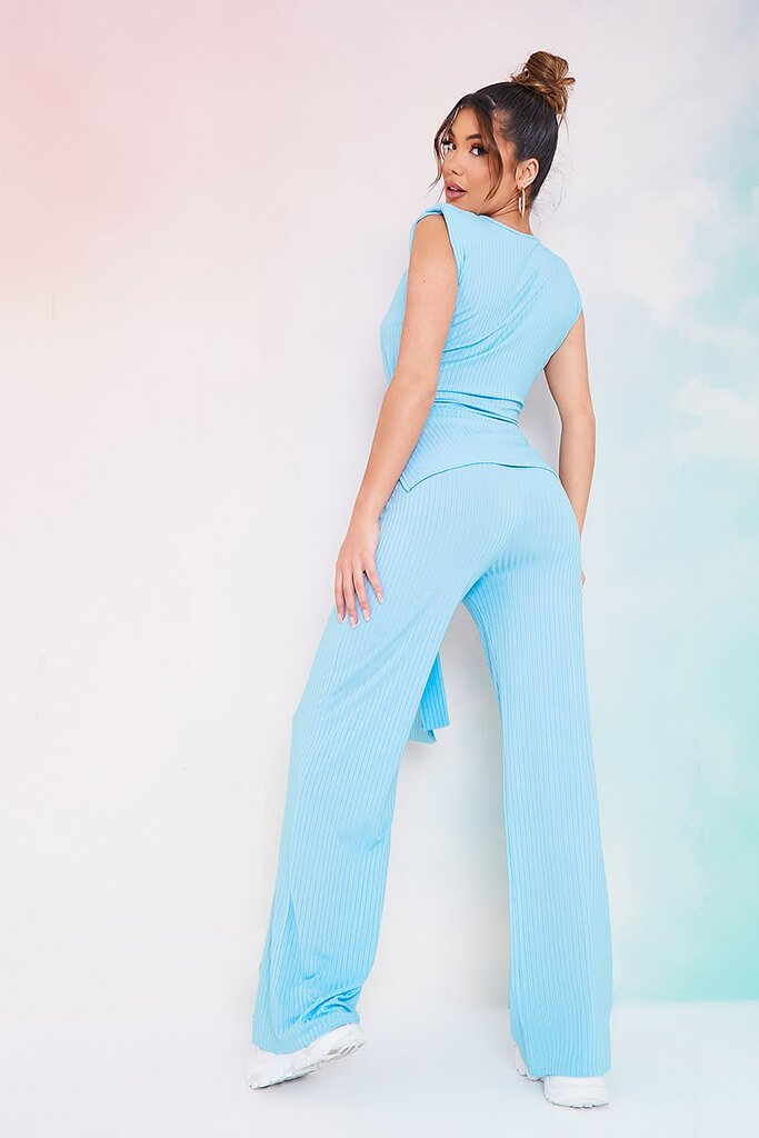 Dusty Blue Rib Belted Tunic With Wide Leg Trousers view 3