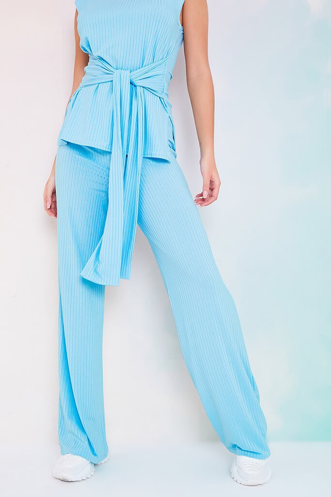 Dusty Blue Rib Belted Tunic With Wide Leg Trousers view 4