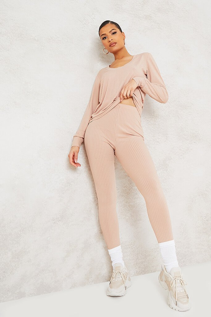 Stone Ribbed V-Neck Oversized Top And Legging Set view main view