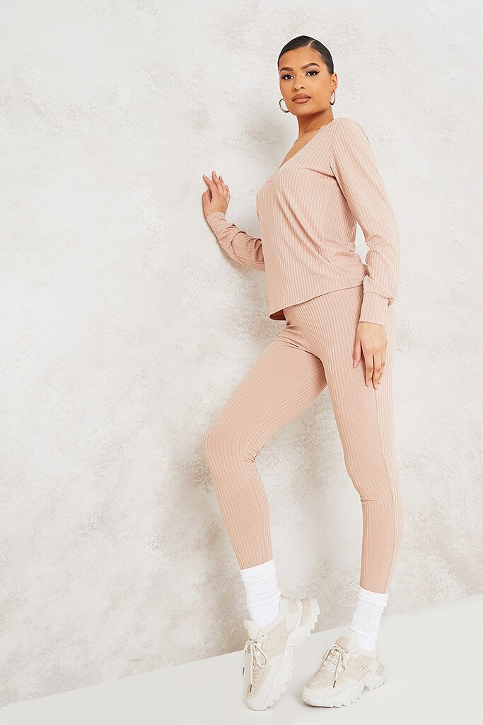 Stone Ribbed V-Neck Oversized Top And Legging Set view 3