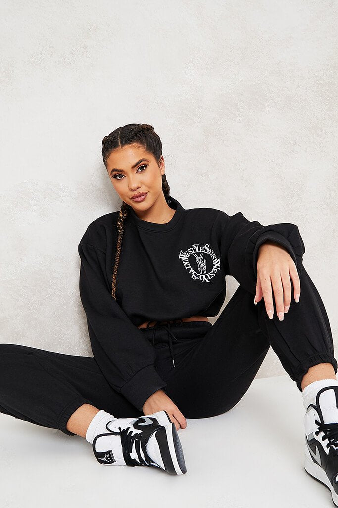 Black Ye Saint West Cropped Embroided Sweater
