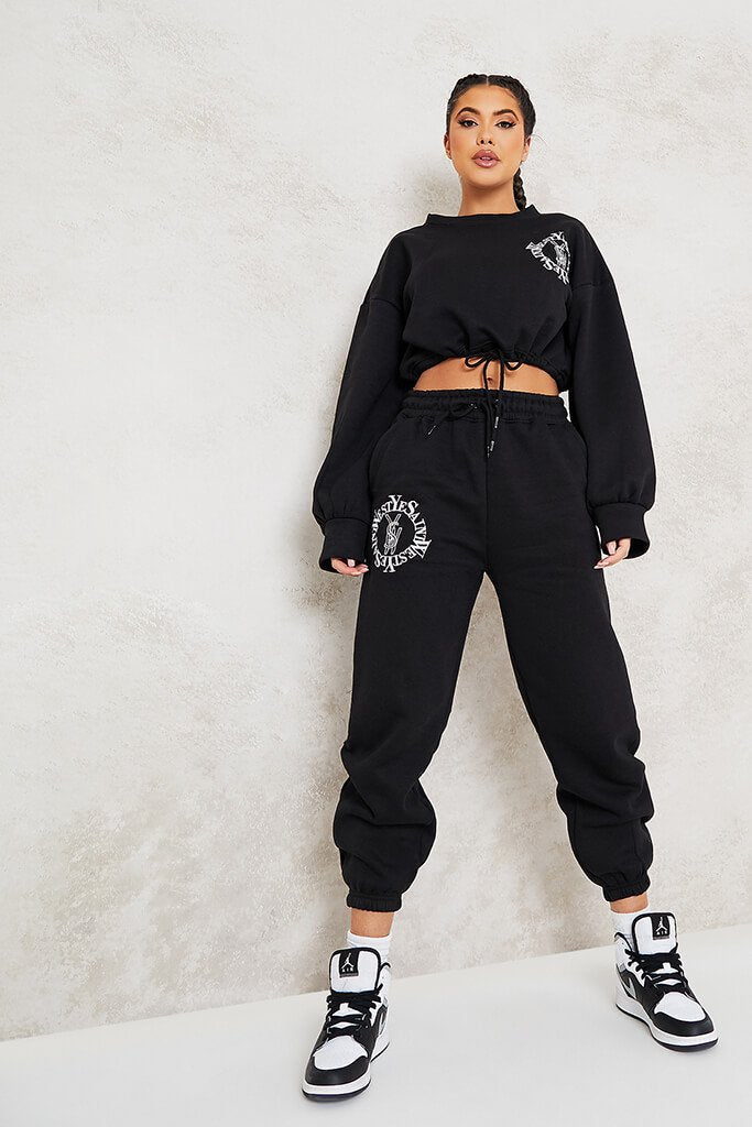 Black Ye Saint West Cropped Embroided Sweater view 2